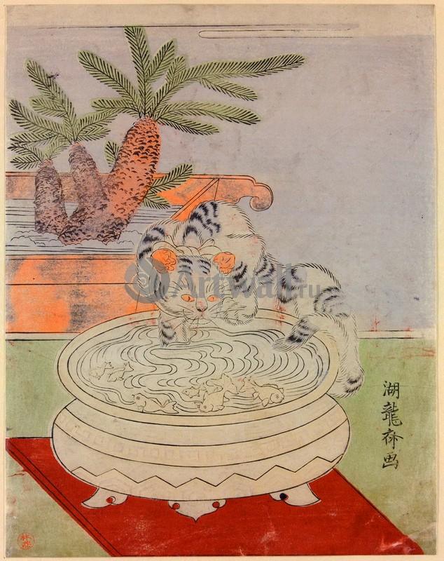 Японская гравюра Растения, птицы и животные, Кошка играет с золотыми рыбкамиРастения, птицы и животные<br>Репродукция на холсте или бумаге. Любого нужного вам размера. В раме или без. Подвес в комплекте. Трехслойная надежная упаковка. Доставим в любую точку России. Вам осталось только повесить картину на стену!<br>
