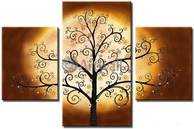 Модульная картина «Золотое дерево Климта»Абстракция<br>Модульная картина на натуральном холсте и деревянном подрамнике. Подвес в комплекте. Трехслойная надежная упаковка. Доставим в любую точку России. Вам осталось только повесить картину на стену!<br>