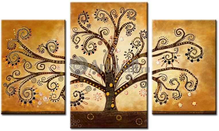 Модульная картина «Золотое дерево Климта 2»Абстракция<br>Модульная картина на натуральном холсте и деревянном подрамнике. Подвес в комплекте. Трехслойная надежная упаковка. Доставим в любую точку России. Вам осталось только повесить картину на стену!<br>
