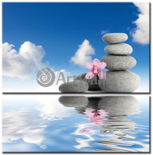 Модульная картина «Вода и камни. Отражение»Природа<br>Модульная картина на натуральном холсте и деревянном подрамнике. Подвес в комплекте. Трехслойная надежная упаковка. Доставим в любую точку России. Вам осталось только повесить картину на стену!<br>