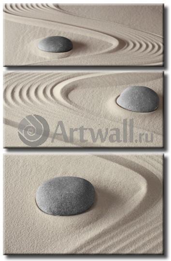 Модульная картина «Камни и песок»Природа<br>Модульная картина на натуральном холсте и деревянном подрамнике. Подвес в комплекте. Трехслойная надежная упаковка. Доставим в любую точку России. Вам осталось только повесить картину на стену!<br>
