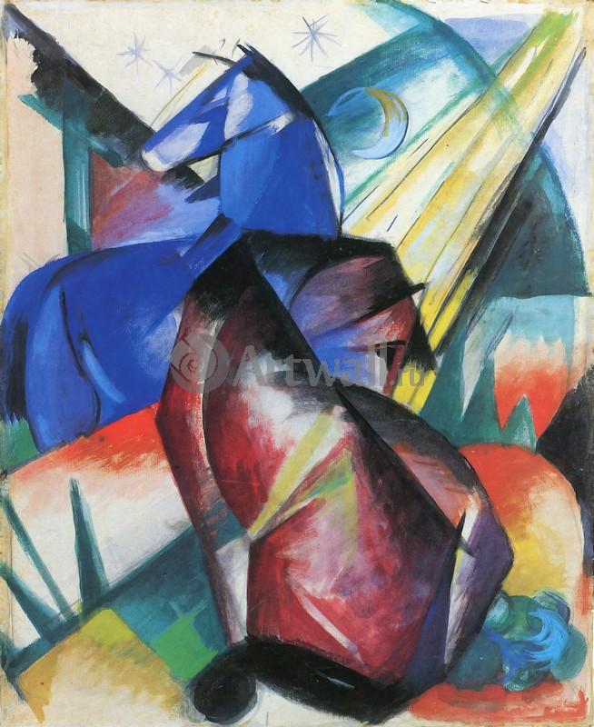Марк Франц, картина Красная и синяя лошадиМарк Франц<br>Репродукция на холсте или бумаге. Любого нужного вам размера. В раме или без. Подвес в комплекте. Трехслойная надежная упаковка. Доставим в любую точку России. Вам осталось только повесить картину на стену!<br>