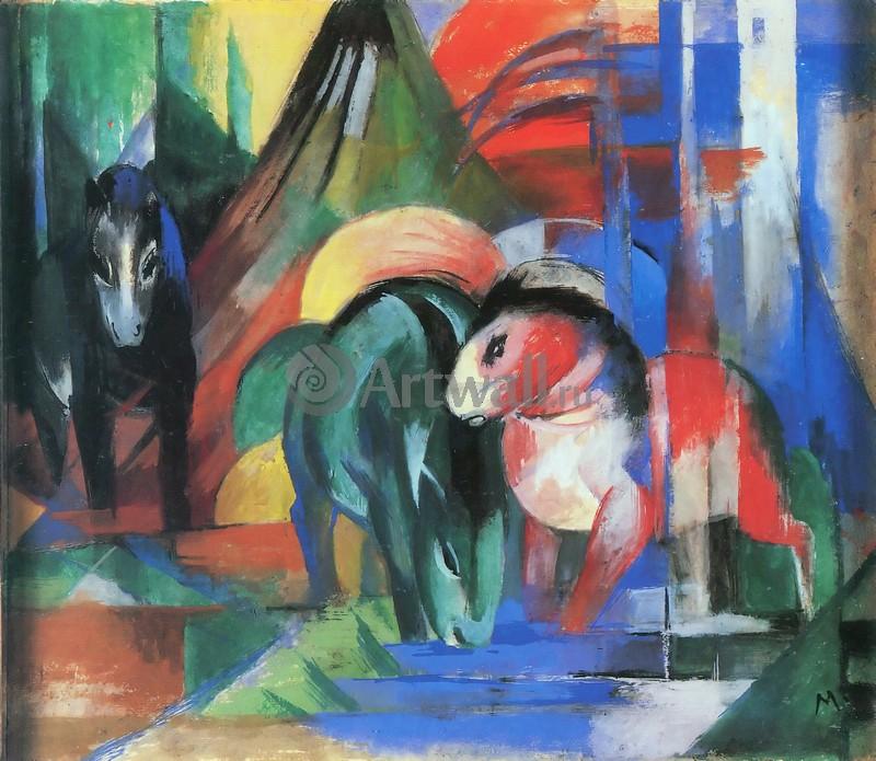 Марк Франц, картина Три лошади на водопоеМарк Франц<br>Репродукция на холсте или бумаге. Любого нужного вам размера. В раме или без. Подвес в комплекте. Трехслойная надежная упаковка. Доставим в любую точку России. Вам осталось только повесить картину на стену!<br>