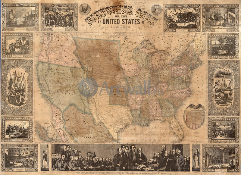 Постер Старинные карты Этвуд Дж. М., Изобразительная карта Соединенных Штатов 1847 годСтаринные карты<br>Постер на холсте или бумаге. Любого нужного вам размера. В раме или без. Подвес в комплекте. Трехслойная надежная упаковка. Доставим в любую точку России. Вам осталось только повесить картину на стену!<br>