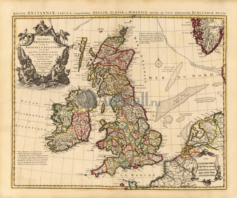 Старинные карты, картина Делиль Гийом, Карта Британских острововСтаринные карты<br>Репродукция на холсте или бумаге. Любого нужного вам размера. В раме или без. Подвес в комплекте. Трехслойная надежная упаковка. Доставим в любую точку России. Вам осталось только повесить картину на стену!<br>