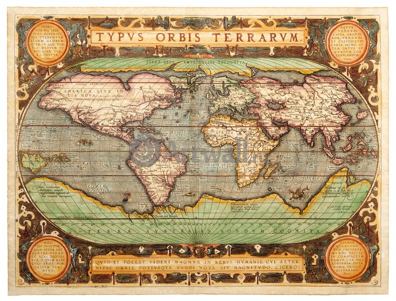 Ортелиус Абрахам, Карта мира, 26x20 см, на бумагеСтаринные карты<br>Постер на холсте или бумаге. Любого нужного вам размера. В раме или без. Подвес в комплекте. Трехслойная надежная упаковка. Доставим в любую точку России. Вам осталось только повесить картину на стену!<br>