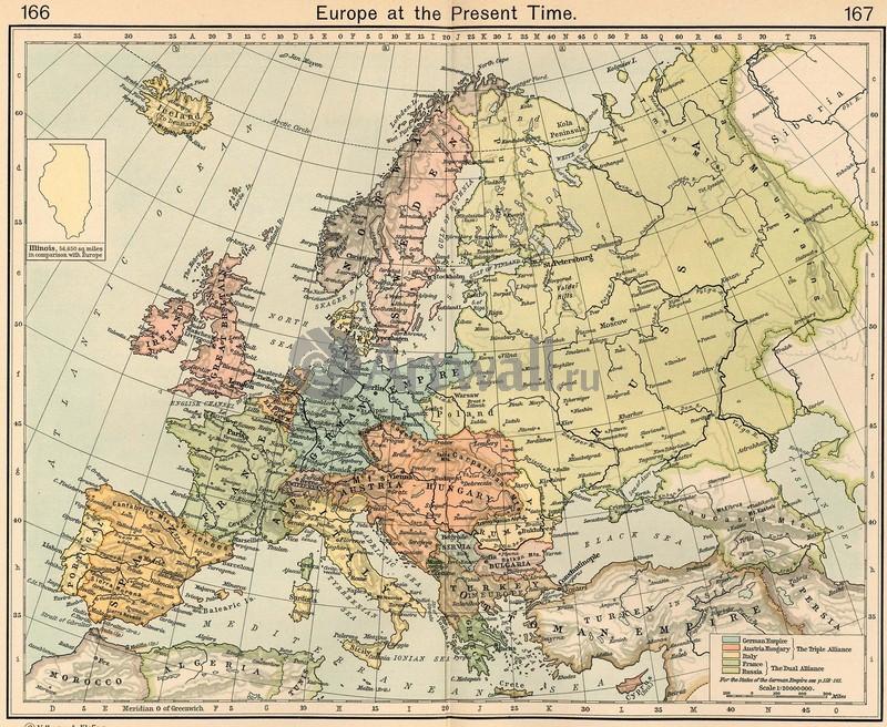 Постер Старинные карты Европа в настоящее времяСтаринные карты<br>Постер на холсте или бумаге. Любого нужного вам размера. В раме или без. Подвес в комплекте. Трехслойная надежная упаковка. Доставим в любую точку России. Вам осталось только повесить картину на стену!<br>