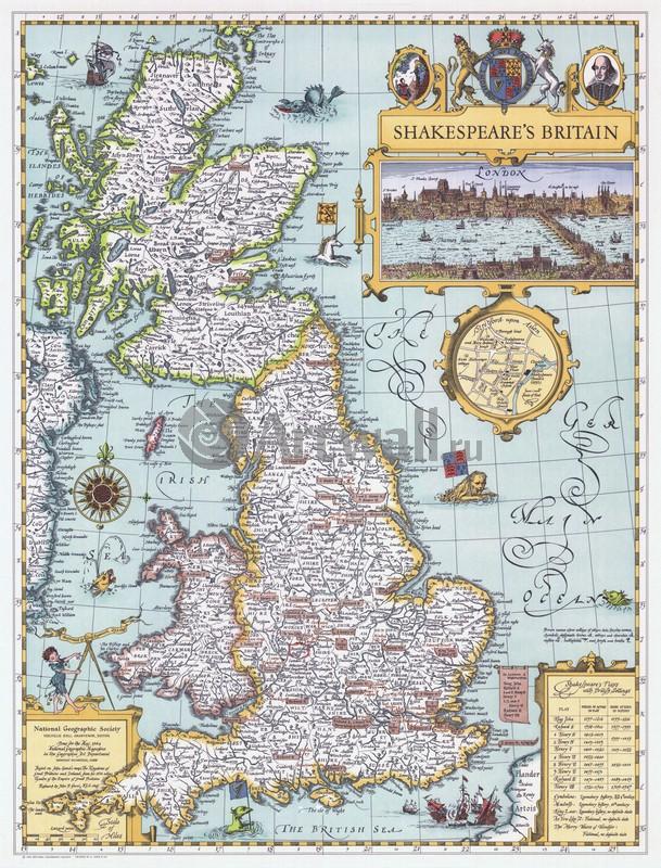 Постер Старинные карты Шекспировская БританияСтаринные карты<br>Постер на холсте или бумаге. Любого нужного вам размера. В раме или без. Подвес в комплекте. Трехслойная надежная упаковка. Доставим в любую точку России. Вам осталось только повесить картину на стену!<br>