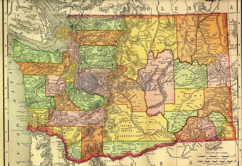 Искусство, картина Карта штата Вашингтон, 29x20 см, на бумагеСтаринные карты<br>Постер на холсте или бумаге. Любого нужного вам размера. В раме или без. Подвес в комплекте. Трехслойная надежная упаковка. Доставим в любую точку России. Вам осталось только повесить картину на стену!<br>