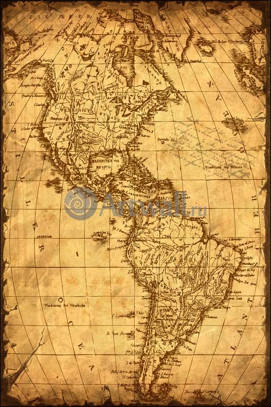 Старинные карты, картина Хасе Джон Маттиас, Карта АмерикиСтаринные карты<br>Репродукция на холсте или бумаге. Любого нужного вам размера. В раме или без. Подвес в комплекте. Трехслойная надежная упаковка. Доставим в любую точку России. Вам осталось только повесить картину на стену!<br>