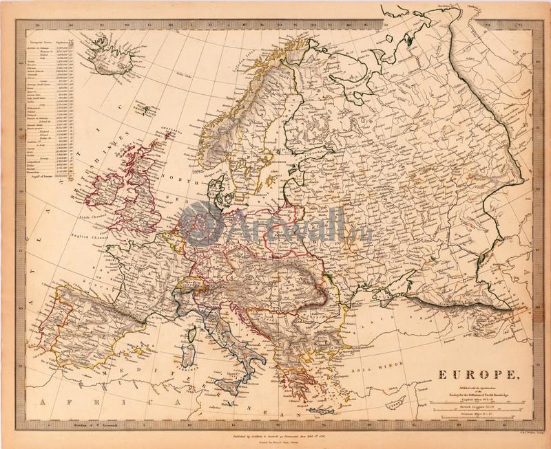 Постер Старинные карты Карта ЕвропыСтаринные карты<br>Постер на холсте или бумаге. Любого нужного вам размера. В раме или без. Подвес в комплекте. Трехслойная надежная упаковка. Доставим в любую точку России. Вам осталось только повесить картину на стену!<br>