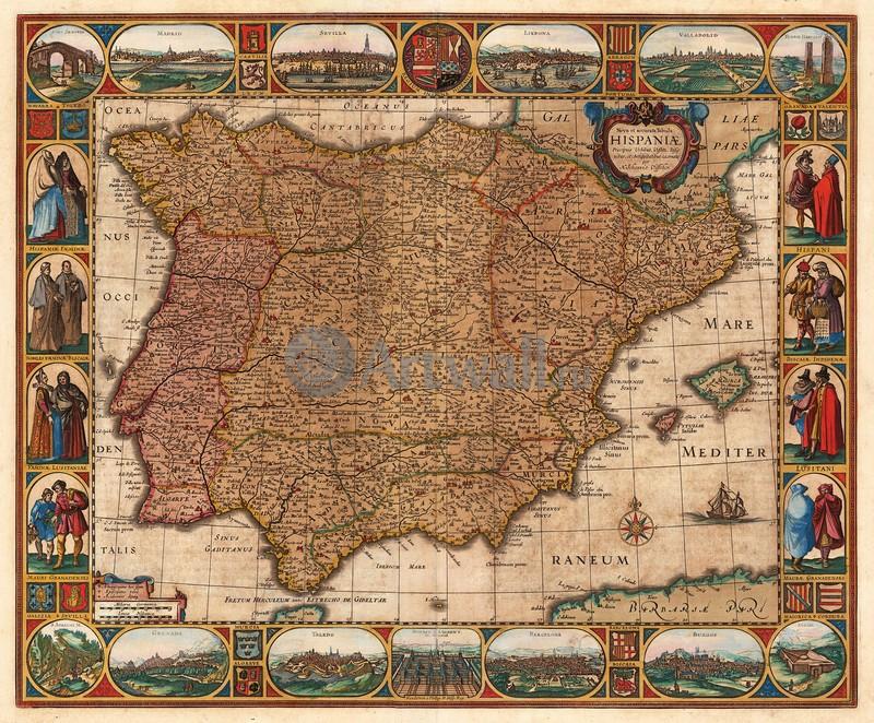 Старинные карты, картина Вишер Николаус, ИспанияСтаринные карты<br>Репродукция на холсте или бумаге. Любого нужного вам размера. В раме или без. Подвес в комплекте. Трехслойная надежная упаковка. Доставим в любую точку России. Вам осталось только повесить картину на стену!<br>