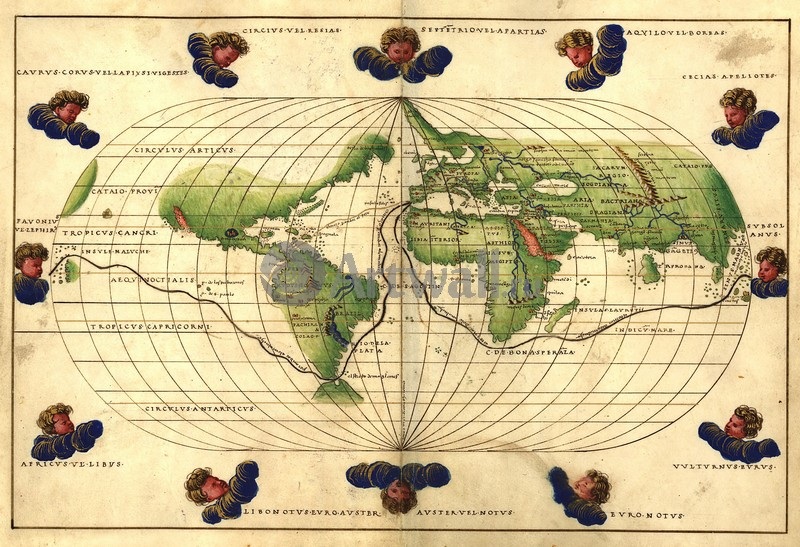 Постер Старинные карты Батиста Агнес, Карта пути МагелланаСтаринные карты<br>Постер на холсте или бумаге. Любого нужного вам размера. В раме или без. Подвес в комплекте. Трехслойная надежная упаковка. Доставим в любую точку России. Вам осталось только повесить картину на стену!<br>