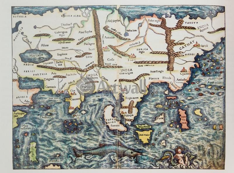 Постер Старинные карты Мюнстер Себастиан, Индия (1552)Старинные карты<br>Постер на холсте или бумаге. Любого нужного вам размера. В раме или без. Подвес в комплекте. Трехслойная надежная упаковка. Доставим в любую точку России. Вам осталось только повесить картину на стену!<br>