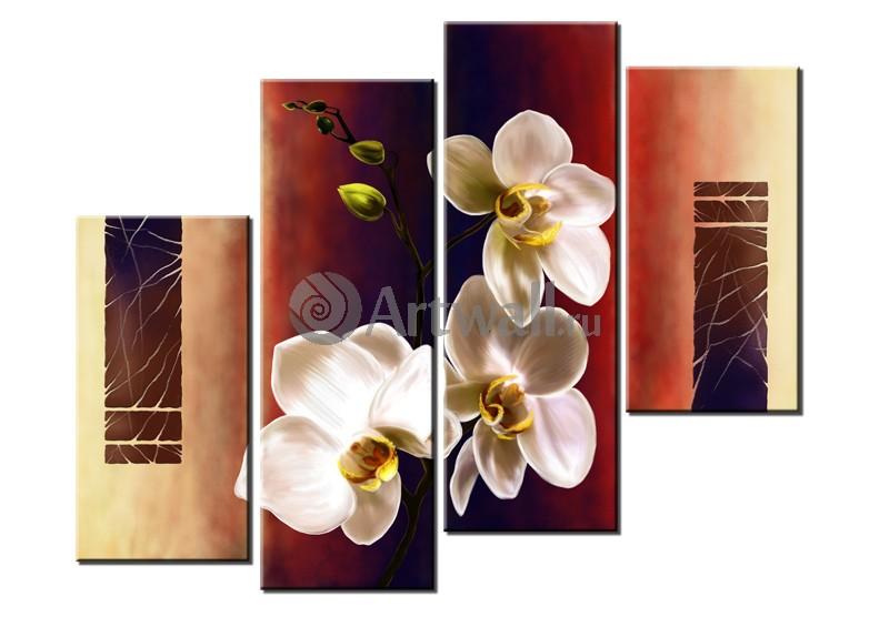 Модульная картина «Три белых орхидеи»Цветы<br>Модульная картина на натуральном холсте и деревянном подрамнике. Подвес в комплекте. Трехслойная надежная упаковка. Доставим в любую точку России. Вам осталось только повесить картину на стену!<br>