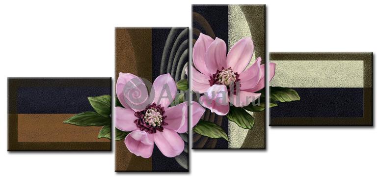 Модульная картина «Цветы на граните»Цветы<br>Модульная картина на натуральном холсте и деревянном подрамнике. Подвес в комплекте. Трехслойная надежная упаковка. Доставим в любую точку России. Вам осталось только повесить картину на стену!<br>