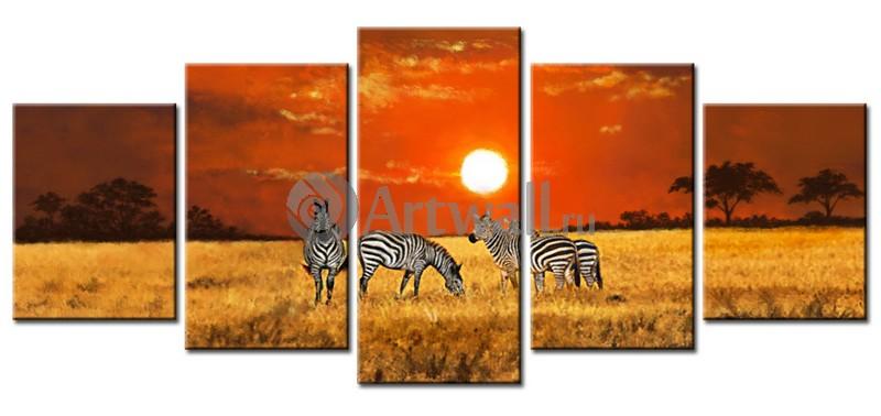 Модульная картина «Пейзаж с зебрами»Африканские мотивы<br>Модульная картина на натуральном холсте и деревянном подрамнике. Подвес в комплекте. Трехслойная надежная упаковка. Доставим в любую точку России. Вам осталось только повесить картину на стену!<br>