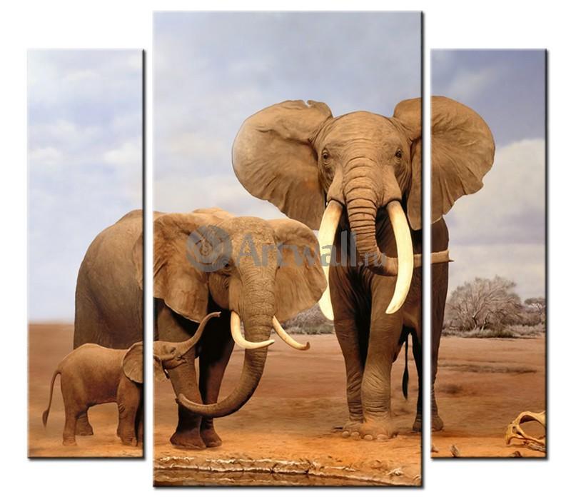 Модульная картина «Позирующие слоны»Животные и птицы<br>Модульная картина на натуральном холсте и деревянном подрамнике. Подвес в комплекте. Трехслойная надежная упаковка. Доставим в любую точку России. Вам осталось только повесить картину на стену!<br>