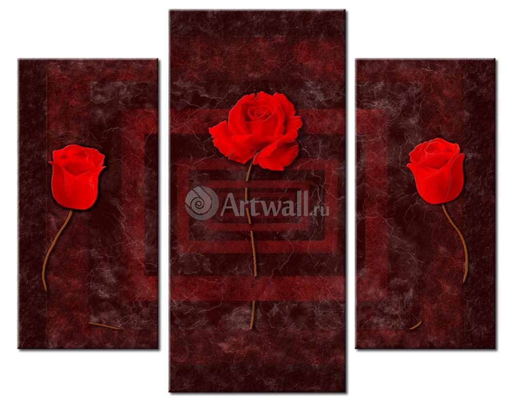 Модульная картина «Красные розы на бордовом»Цветы<br>Модульная картина на натуральном холсте и деревянном подрамнике. Подвес в комплекте. Трехслойная надежная упаковка. Доставим в любую точку России. Вам осталось только повесить картину на стену!<br>