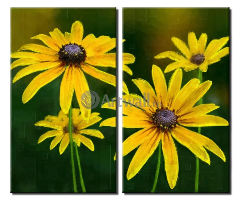 Модульная картина «Абстракция желтых цветов»Цветы<br>Модульная картина на натуральном холсте и деревянном подрамнике. Подвес в комплекте. Трехслойная надежная упаковка. Доставим в любую точку России. Вам осталось только повесить картину на стену!<br>