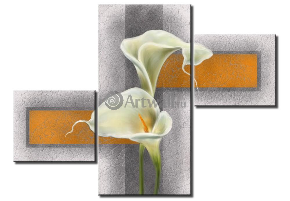 Модульная картина «Гармония белых калл»Цветы<br>Модульная картина на натуральном холсте и деревянном подрамнике. Подвес в комплекте. Трехслойная надежная упаковка. Доставим в любую точку России. Вам осталось только повесить картину на стену!<br>