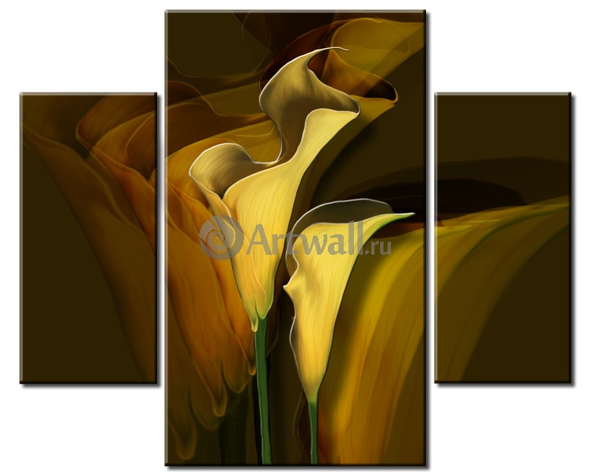 Модульная картина «Темные каллы»Цветы<br>Модульная картина на натуральном холсте и деревянном подрамнике. Подвес в комплекте. Трехслойная надежная упаковка. Доставим в любую точку России. Вам осталось только повесить картину на стену!<br>