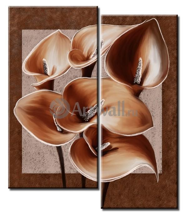 Модульная картина «Шесть калл»Цветы<br>Модульная картина на натуральном холсте и деревянном подрамнике. Подвес в комплекте. Трехслойная надежная упаковка. Доставим в любую точку России. Вам осталось только повесить картину на стену!<br>
