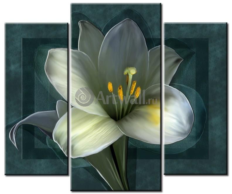 Модульная картина «Синий цветок», 60x50 см, модульная картинаЦветы<br>Модульная картина на натуральном холсте и деревянном подрамнике. Подвес в комплекте. Трехслойная надежная упаковка. Доставим в любую точку России. Вам осталось только повесить картину на стену!<br>
