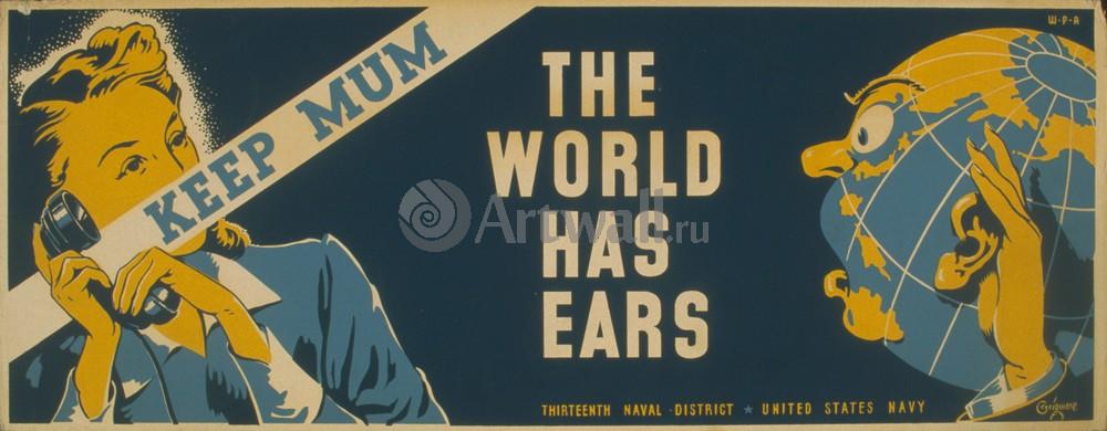 Плакат Плакат 20 века Помалкивать, Всемирный имеет уши, 51x20 см, на бумагеВойна<br>Постер на холсте или бумаге. Любого нужного вам размера. В раме или без. Подвес в комплекте. Трехслойная надежная упаковка. Доставим в любую точку России. Вам осталось только повесить картину на стену!<br>