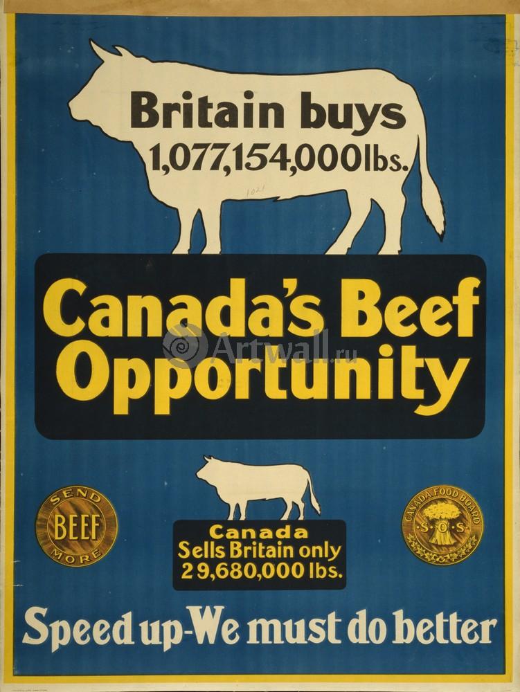 Плакат Плакат 20 века Говядина Канады, мы должны сделать ее лучше, 20x27 см, на бумагеЖивотные<br>Постер на холсте или бумаге. Любого нужного вам размера. В раме или без. Подвес в комплекте. Трехслойная надежная упаковка. Доставим в любую точку России. Вам осталось только повесить картину на стену!<br>