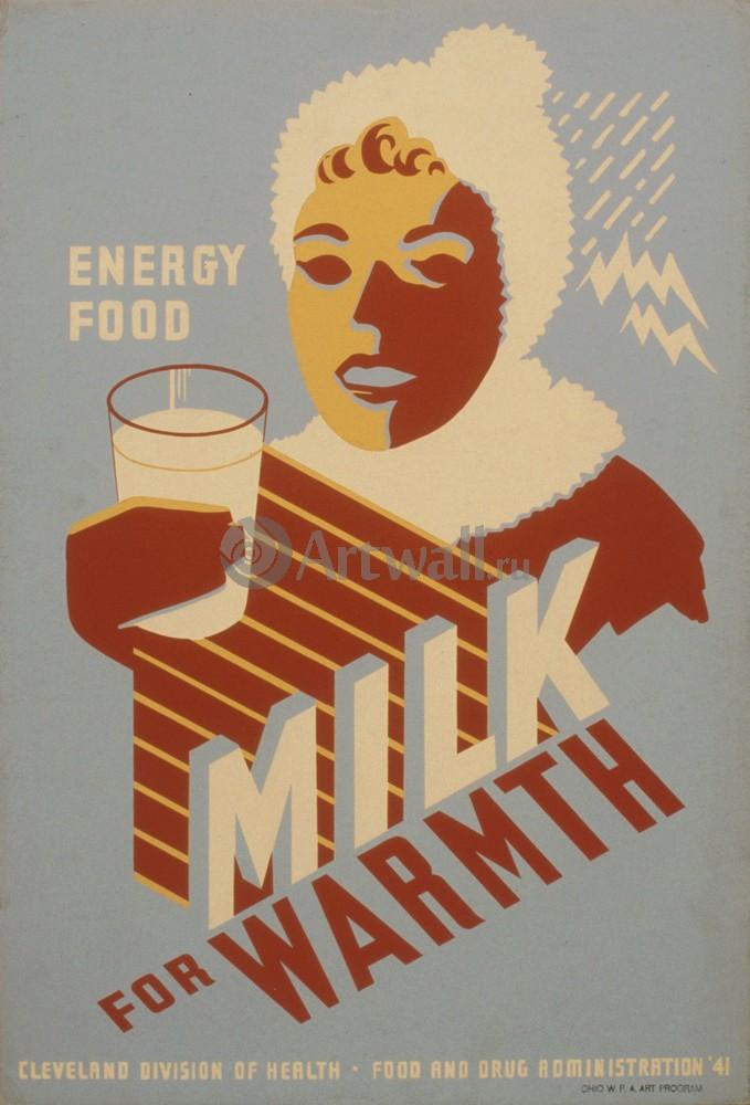 Плакат Плакат 20 века Пищевая энергетика, Молоко для тепла, 20x29 см, на бумагеЕда<br>Постер на холсте или бумаге. Любого нужного вам размера. В раме или без. Подвес в комплекте. Трехслойная надежная упаковка. Доставим в любую точку России. Вам осталось только повесить картину на стену!<br>