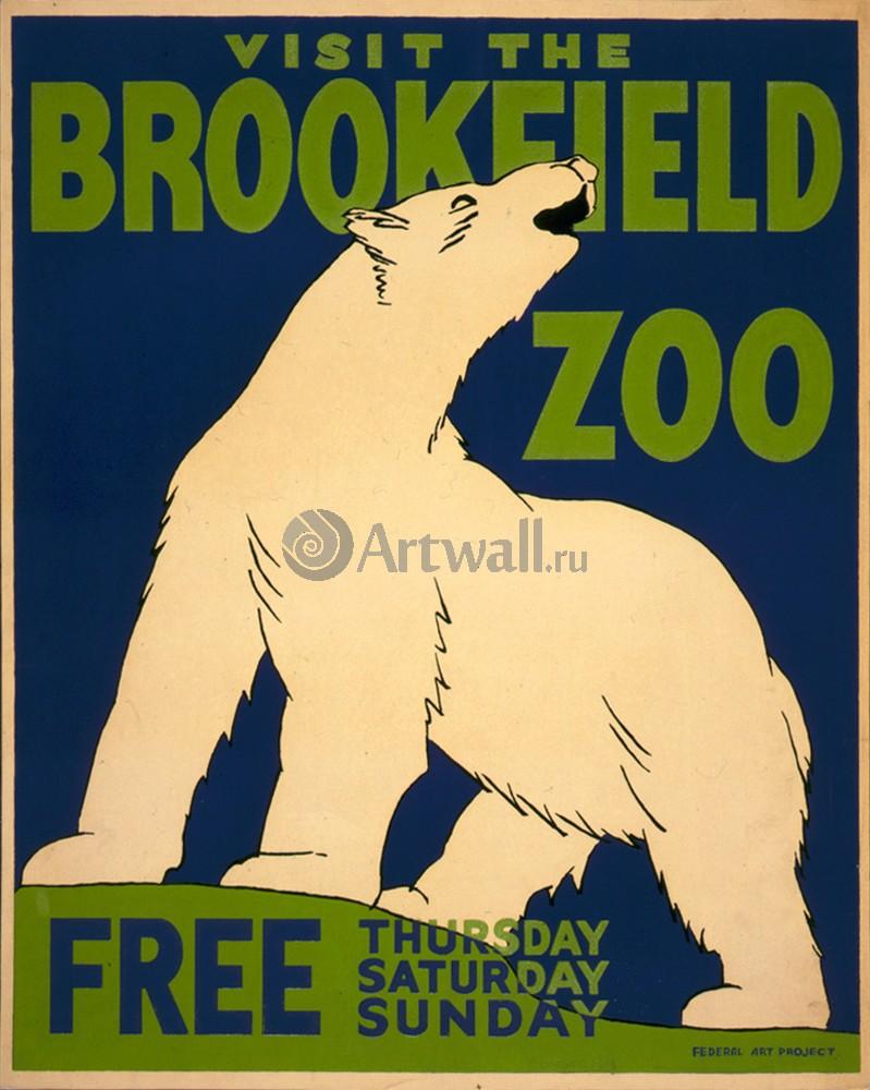 Плакат Плакат 20 века Посетите Brookfield Zoo, бесплатно, 20x25 см, на бумагеЖивотные<br>Постер на холсте или бумаге. Любого нужного вам размера. В раме или без. Подвес в комплекте. Трехслойная надежная упаковка. Доставим в любую точку России. Вам осталось только повесить картину на стену!<br>