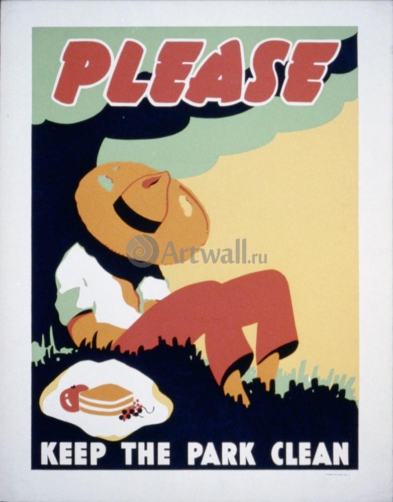 Плакат Плакат 20 века Пожалуйста Держите парк в чистоте, 20x26 см, на бумагеНациональный парк<br>Постер на холсте или бумаге. Любого нужного вам размера. В раме или без. Подвес в комплекте. Трехслойная надежная упаковка. Доставим в любую точку России. Вам осталось только повесить картину на стену!<br>