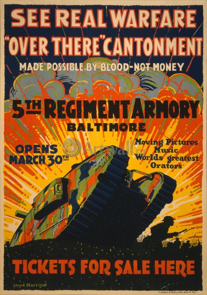 Плакат Плакат 20 века See Real Warfare, Over There Cantonment, 5th Regiment Armory Baltimore, 20x29 см, на бумагеПропаганда<br>Постер на холсте или бумаге. Любого нужного вам размера. В раме или без. Подвес в комплекте. Трехслойная надежная упаковка. Доставим в любую точку России. Вам осталось только повесить картину на стену!<br>