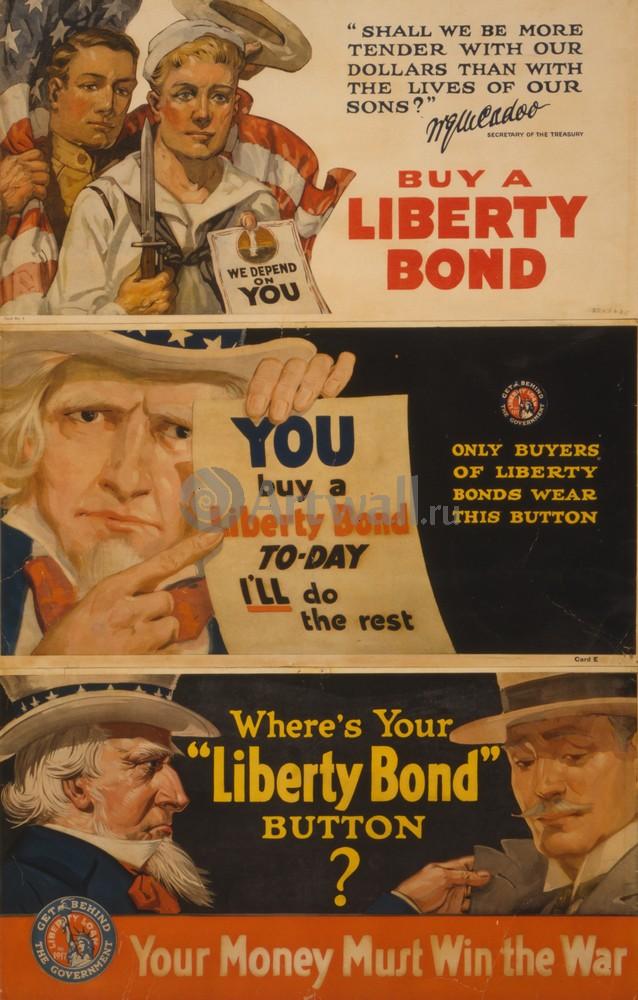 Плакат Пропаганда Купить Liberty Bond, ваши деньги должны выиграть войну, 20x31 см, на бумагеПропаганда<br>Постер на холсте или бумаге. Любого нужного вам размера. В раме или без. Подвес в комплекте. Трехслойная надежная упаковка. Доставим в любую точку России. Вам осталось только повесить картину на стену!<br>