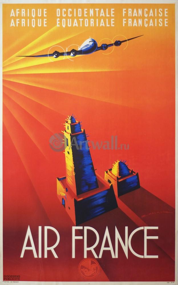 Плакат Плакат 20 века Air France, Afrique OccidentaleEquatoriale Francaise, 20x32 см, на бумагеРеклама<br>Постер на холсте или бумаге. Любого нужного вам размера. В раме или без. Подвес в комплекте. Трехслойная надежная упаковка. Доставим в любую точку России. Вам осталось только повесить картину на стену!<br>