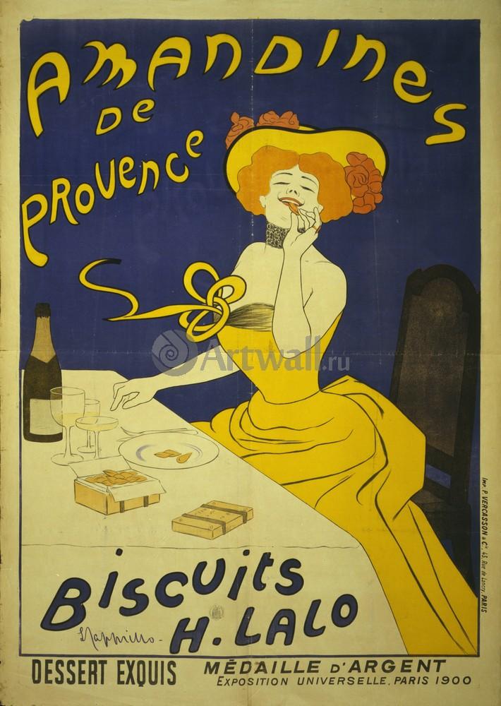 Плакат Плакат 20 века Amandines de Provence, печенье H. Lalo, 20x28 см, на бумагеРеклама<br>Постер на холсте или бумаге. Любого нужного вам размера. В раме или без. Подвес в комплекте. Трехслойная надежная упаковка. Доставим в любую точку России. Вам осталось только повесить картину на стену!<br>