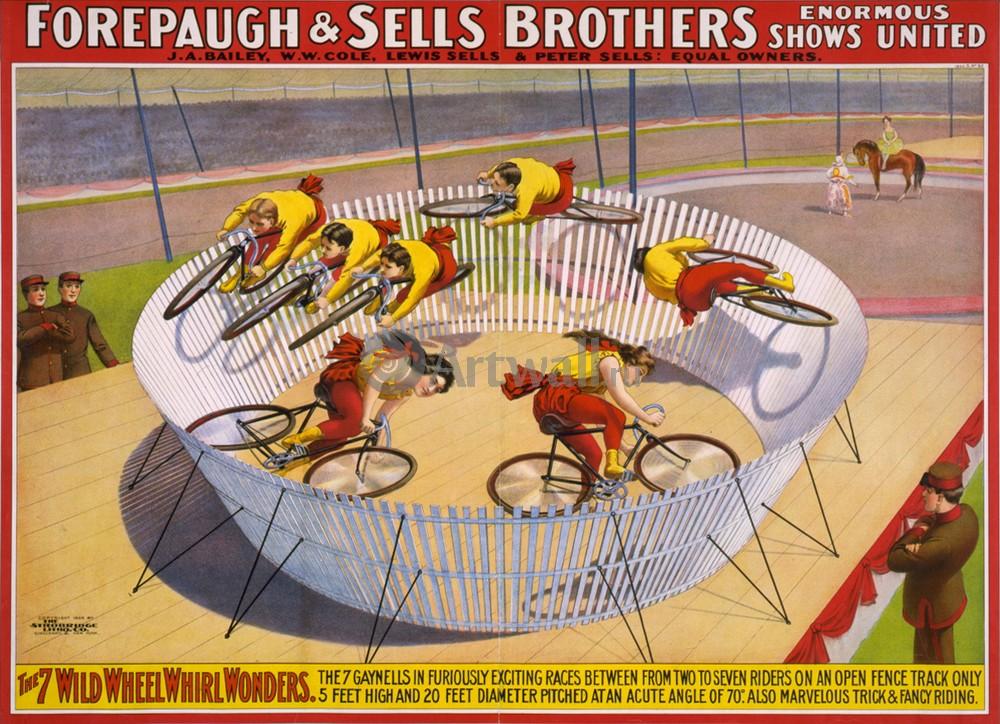 Плакат Плакат 20 века Forepaugh &amp; Sells Brothers, 7 Wild Wheel Whirl Wonders, 28x20 см, на бумагеРеклама<br>Постер на холсте или бумаге. Любого нужного вам размера. В раме или без. Подвес в комплекте. Трехслойная надежная упаковка. Доставим в любую точку России. Вам осталось только повесить картину на стену!<br>