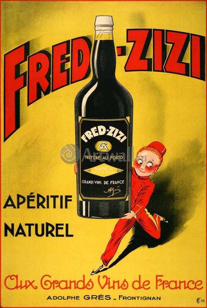 Плакат Плакат 20 века Fred Zizi, Аперитив Naturel, французского вина, 20x30 см, на бумагеРеклама<br>Постер на холсте или бумаге. Любого нужного вам размера. В раме или без. Подвес в комплекте. Трехслойная надежная упаковка. Доставим в любую точку России. Вам осталось только повесить картину на стену!<br>