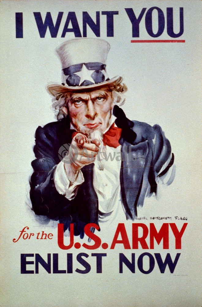 Плакат Плакат 20 века I Want You для армии США, 20x30 см, на бумагеРеклама<br>Постер на холсте или бумаге. Любого нужного вам размера. В раме или без. Подвес в комплекте. Трехслойная надежная упаковка. Доставим в любую точку России. Вам осталось только повесить картину на стену!<br>