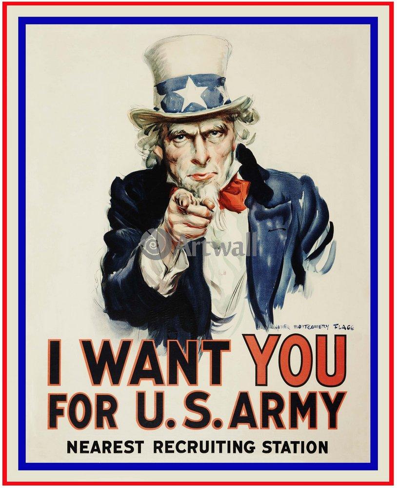 I Want You для армии США, ближайший призывной пункт, 20x25 см, на бумагеРеклама<br>Постер на холсте или бумаге. Любого нужного вам размера. В раме или без. Подвес в комплекте. Трехслойная надежная упаковка. Доставим в любую точку России. Вам осталось только повесить картину на стену!<br>