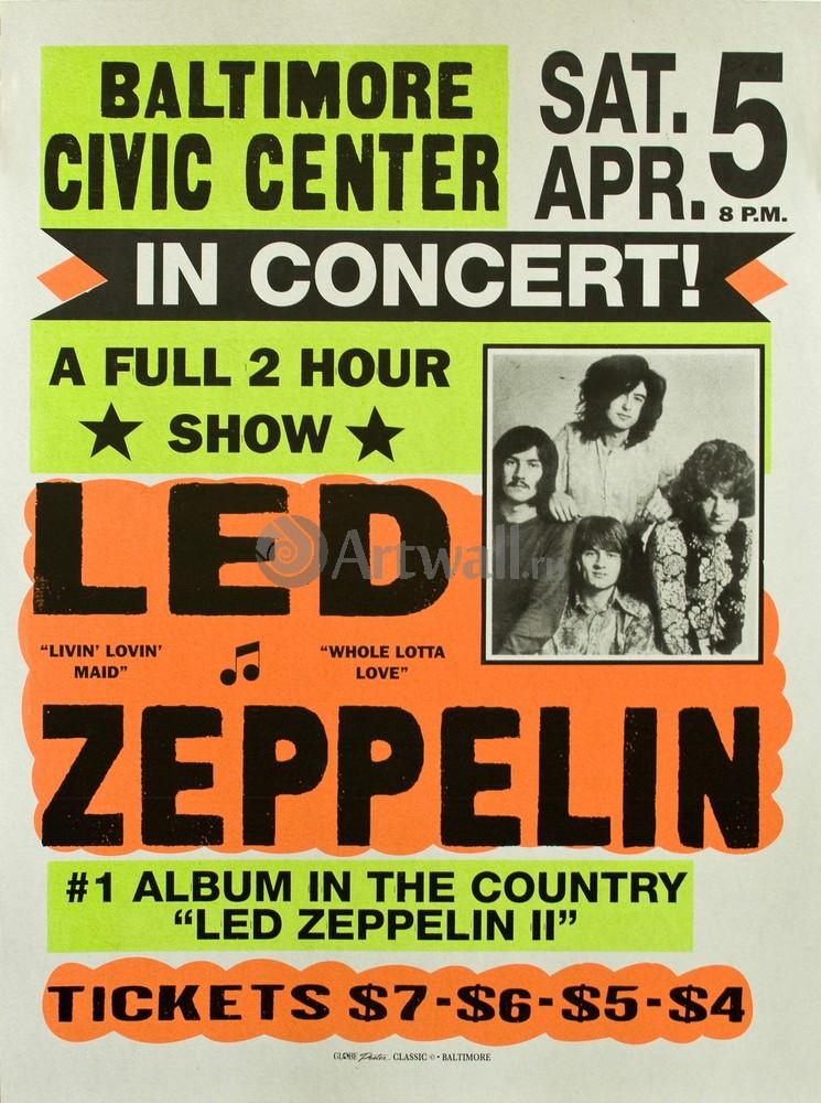 Плакат Плакат 20 века Led Zeppelin концерт, 20x27 см, на бумагеРеклама<br>Постер на холсте или бумаге. Любого нужного вам размера. В раме или без. Подвес в комплекте. Трехслойная надежная упаковка. Доставим в любую точку России. Вам осталось только повесить картину на стену!<br>
