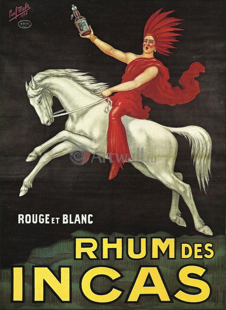 Плакат Плакат 20 века Rhum des Incas, Rouge et Blanc, 20x27 см, на бумагеРеклама<br>Постер на холсте или бумаге. Любого нужного вам размера. В раме или без. Подвес в комплекте. Трехслойная надежная упаковка. Доставим в любую точку России. Вам осталось только повесить картину на стену!<br>