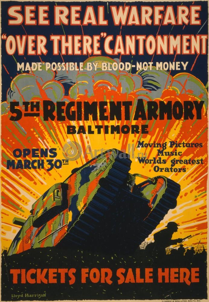 Плакат Плакат 20 века See Real Warfare, Over There Cantonment, 5th Regiment Armory Baltimore, 20x29 см, на бумагеРеклама<br>Постер на холсте или бумаге. Любого нужного вам размера. В раме или без. Подвес в комплекте. Трехслойная надежная упаковка. Доставим в любую точку России. Вам осталось только повесить картину на стену!<br>