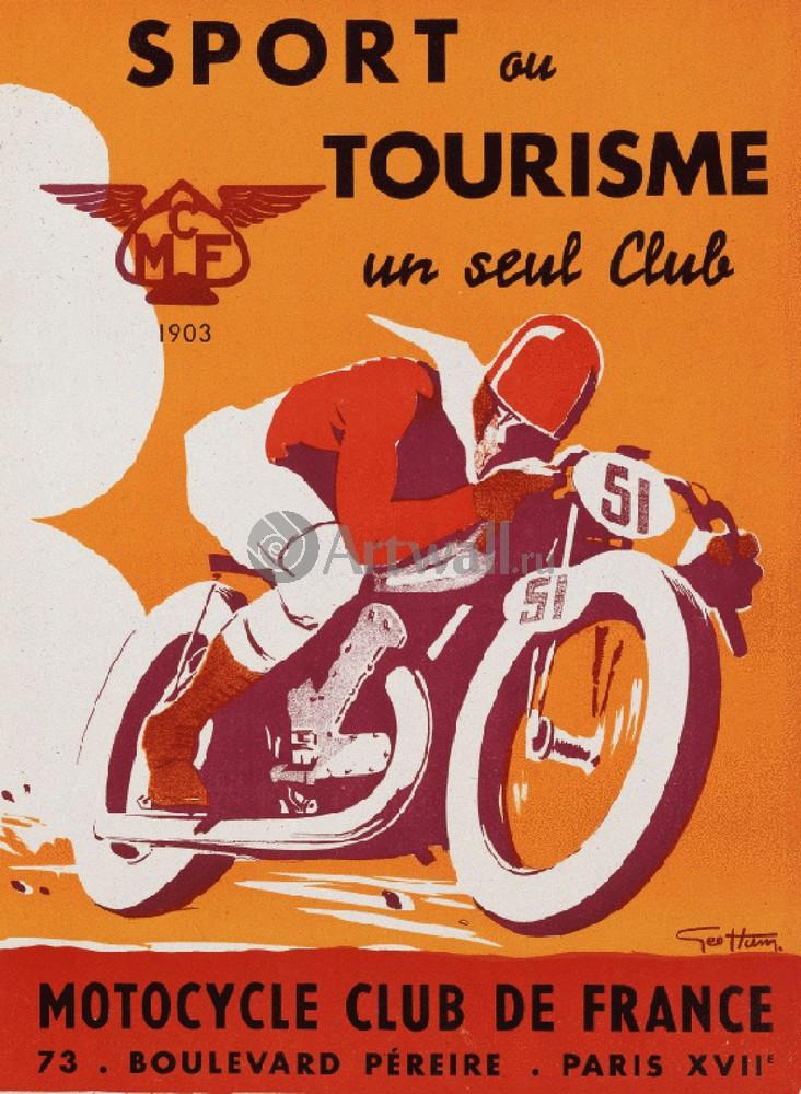 Sport ou Tourisme un seul Club, Motorcycle Club de France, 20x27 см, на бумагеРеклама<br>Постер на холсте или бумаге. Любого нужного вам размера. В раме или без. Подвес в комплекте. Трехслойная надежная упаковка. Доставим в любую точку России. Вам осталось только повесить картину на стену!<br>