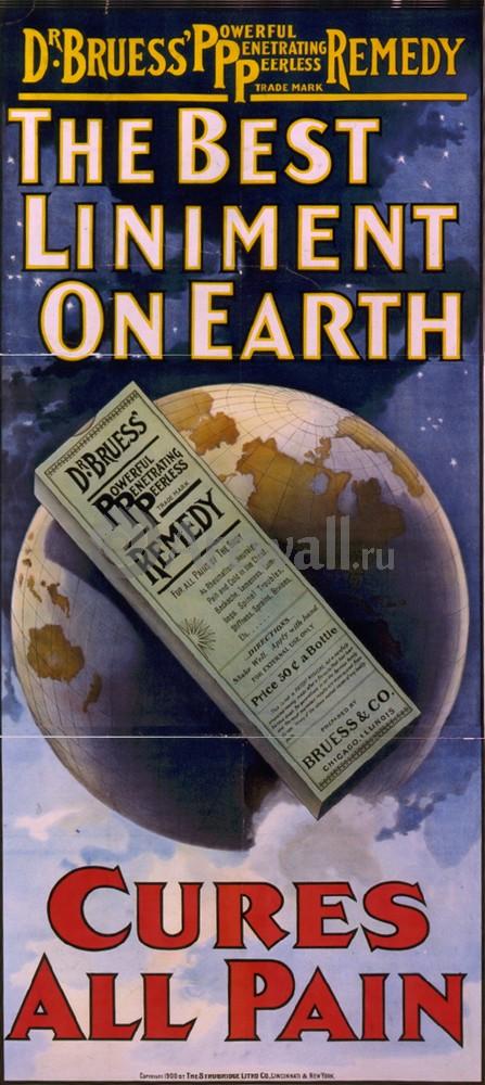 Плакат Плакат 20 века The Best Liniment on Earth, Cures All Pain, 20x45 см, на бумагеРеклама<br>Постер на холсте или бумаге. Любого нужного вам размера. В раме или без. Подвес в комплекте. Трехслойная надежная упаковка. Доставим в любую точку России. Вам осталось только повесить картину на стену!<br>
