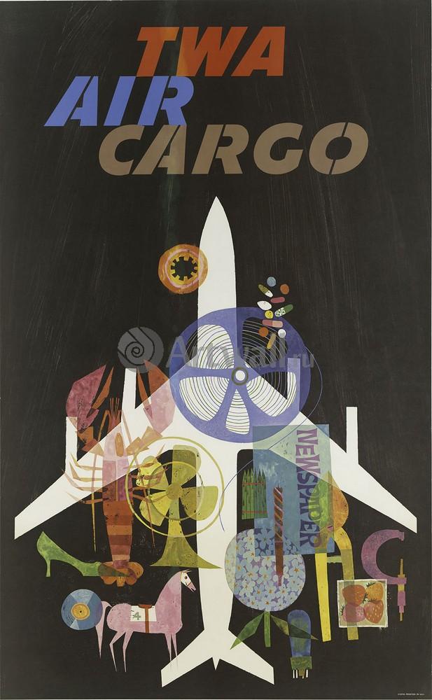 TWA Air Cargo, 20x32 см, на бумагеРеклама<br>Постер на холсте или бумаге. Любого нужного вам размера. В раме или без. Подвес в комплекте. Трехслойная надежная упаковка. Доставим в любую точку России. Вам осталось только повесить картину на стену!<br>
