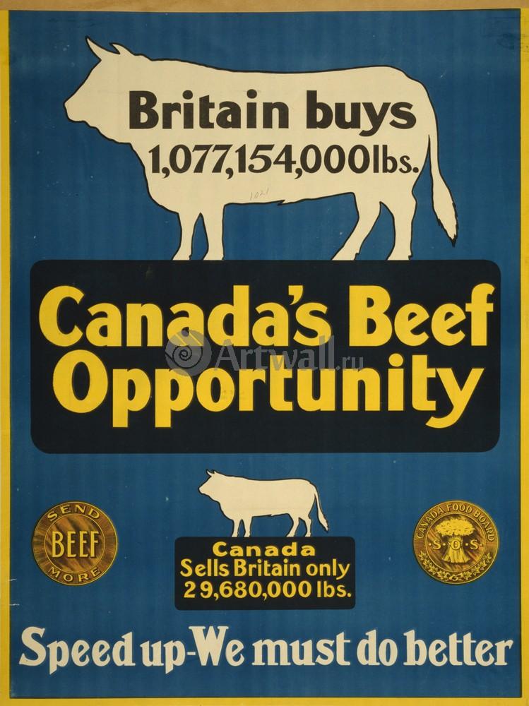 Плакат Плакат 20 века Говядина Канады, мы должны сделать ее лучше, 20x27 см, на бумагеРеклама<br>Постер на холсте или бумаге. Любого нужного вам размера. В раме или без. Подвес в комплекте. Трехслойная надежная упаковка. Доставим в любую точку России. Вам осталось только повесить картину на стену!<br>