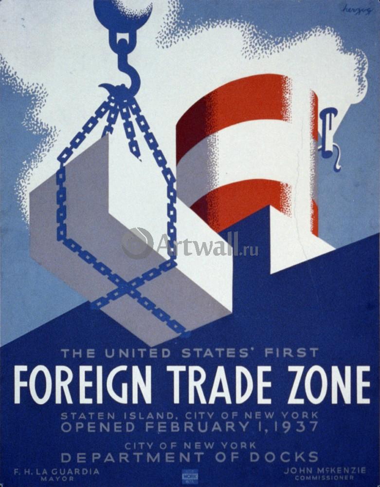 Плакат Реклама Зона внешней торговли США, 20x26 см, на бумагеРеклама<br>Постер на холсте или бумаге. Любого нужного вам размера. В раме или без. Подвес в комплекте. Трехслойная надежная упаковка. Доставим в любую точку России. Вам осталось только повесить картину на стену!<br>