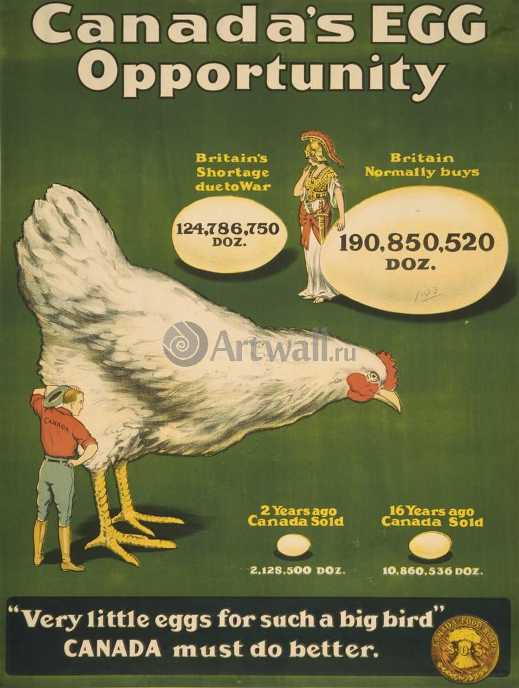 Плакат Плакат 20 века Канадские Яйца, очень маленькие Яйца для такой большой Птицы, Канада должна сделать еще больше, 20x26 см, на бумагеРеклама<br>Постер на холсте или бумаге. Любого нужного вам размера. В раме или без. Подвес в комплекте. Трехслойная надежная упаковка. Доставим в любую точку России. Вам осталось только повесить картину на стену!<br>